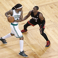 03 June 2012: Miami Heat shooting guard Dwyane Wade (3) defends on Boston Celtics shooting guard Marquis Daniels (4) during the second half of Game 4 of the Eastern Conference Finals playoff series, Heat at Celtics, at the TD Banknorth Garden, Boston, Massachusetts, USA.