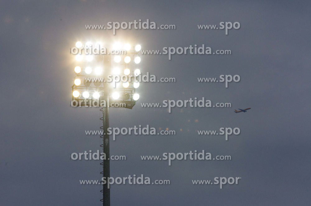 Airplane above stadium during 1st Leg football match between NK Domzale (SLO) na FC Cukaricki (SRB) in 1st Round of Europe League 2015/2016 Qualifications, on July 2, 2015 in Sports park Domzale,  Slovenia. Photo by Vid Ponikvar / Sportida