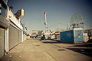 Closed stores and empty streets during off-season at Coney Island, Brooklyn, New York, 2010.