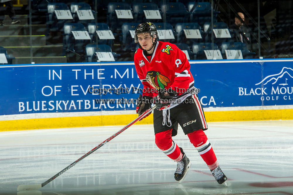 KELOWNA, CANADA - APRIL 7: Cody Glass #8 of the Portland Winterhawks warms up against the Kelowna Rockets on April 7, 2017 at Prospera Place in Kelowna, British Columbia, Canada.  (Photo by Marissa Baecker/Shoot the Breeze)  *** Local Caption ***