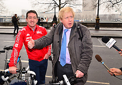 London Mayor Boris Johnson, with Chris Boardman, launches his £913m cycling plan, aiming to make it a vital part of the capital's transport network.  Victoria Embankment, London,  United Kingdom, March 7, 2013. Photo by Nils Jorgensen / i-Images...Contact..Andrew Parsons: 00447545 311662.Stephen Lock: 00447860204379