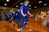 Branden Lemay, Marlon Pacheco, Alden Blais and Dom Troiano compete with their Sophomore classmates in the Long Jump Rope event during Gilford High School's Winter Carnival Friday afternoon.  (Karen Bobotas/for the Laconia Daily Sun)