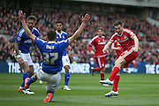 Ipswich Town midfielder, on loan from Barnsley, Paul Digby (37) blocks Middlesbrough midfielder Stewart Downing (19) shot during the Sky Bet Championship match between Middlesbrough and Ipswich Town at the Riverside Stadium, Middlesbrough, England on 23 April 2016. Photo by Simon Davies.