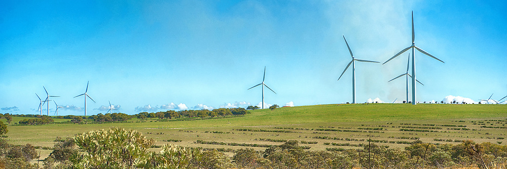 Wind Turbines at Emu Downs Wind Farm of Western Australia in panorama