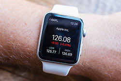 Stock price of Apple company showing on an Apple Watch