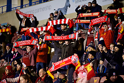 WIDNES, ENGLAND - Wednesday, February 7, 2018: Liverpool supporters before the FA Women's Super League 1 match between Liverpool Ladies FC and Arsenal Ladies FC at the Halton Stadium. (Pic by David Rawcliffe/Propaganda)