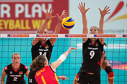 06.09.2013, Gery Weber Stadion, Halle, GER, Volleyball EM 2013, Deutschland vs Spanien, im Bild,, Block/ Doppelblock Margareta Kozuch (#14 GER), Corina Ssuschke-Voigt (#9 GER) - Angriff Rocio Gomez Lopez (#1 ESP) // during the volleyball european championchip match between Germany and Spain at the Gery Weber Stadion in Halle, Germany on 2013/09/06. EXPA Pictures © 2013, PhotoCredit: EXPA/ Eibner/ Kurth<br /> <br /> ***** ATTENTION - OUT OF GER *****