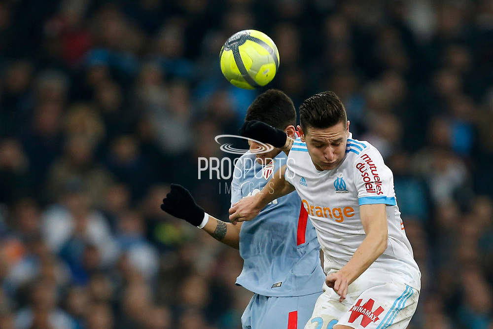 Olympique de Marseille's French forward Florian Thauvin heads the ball during the French Championship Ligue 1 football match between Olympique de Marseille and AS Monaco on January 28, 2018 at the Orange Velodrome stadium in Marseille, France - Photo Benjamin Cremel / ProSportsImages / DPPI