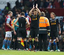BIRMINGHAM, ENGLAND - Easter Sunday, March 31, 2013: Liverpool's captain Steven Gerrard celebrates the 2-1 victory over Aston Villa during the Premiership match at Villa Park. (Pic by David Rawcliffe/Propaganda)