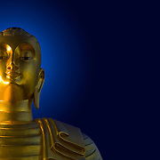 Golden Buddha with key light from back.