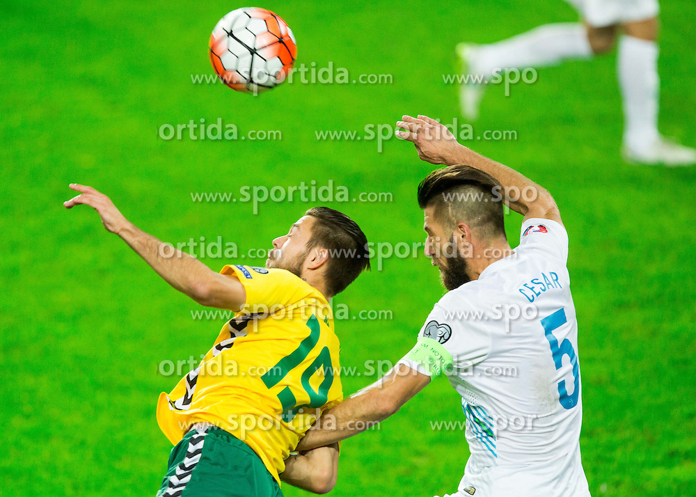 Lukas Spalvis of Lithuania vs Bostjan Cesar of Slovenia during the EURO 2016 Qualifier Group E match between Slovenia and Lithuania, on October 9, 2015 in SRC Stozice, Ljubljana Slovenia. Photo by Vid Ponikvar / Sportida