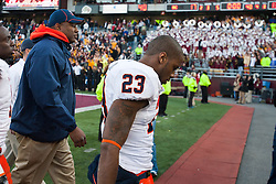 November 20, 2010; Chestnut Hill, MA, USA;  Virginia Cavaliers safety Dom Joseph (23) leaves the field after the game against the Boston College Eagles at Alumni Stadium.  Boston College defeated Virginia 17-13.