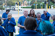 Bernard Carney speaking with the Spirt of The Streets Choir before the opening performance of the 2019 Guildford Songfest