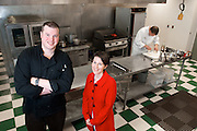 Cleveland Culinary Launch & Kitchen organizers Tim Skaryd, left, and Carolyn Priemer, center, in one of the facilities main kitchens as Chef Patrick Kander, right, prepares a meal on April 18, 2013.