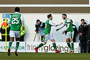Martin Boyle (#17) of Hibernian celebrates Hibernian's first goal (1-0) with Scott Allan (#23) of Hibernian during the Ladbrokes Scottish Premiership match between Hibernian and Aberdeen at Easter Road, Edinburgh, Scotland on 17 February 2018. Picture by Craig Doyle.