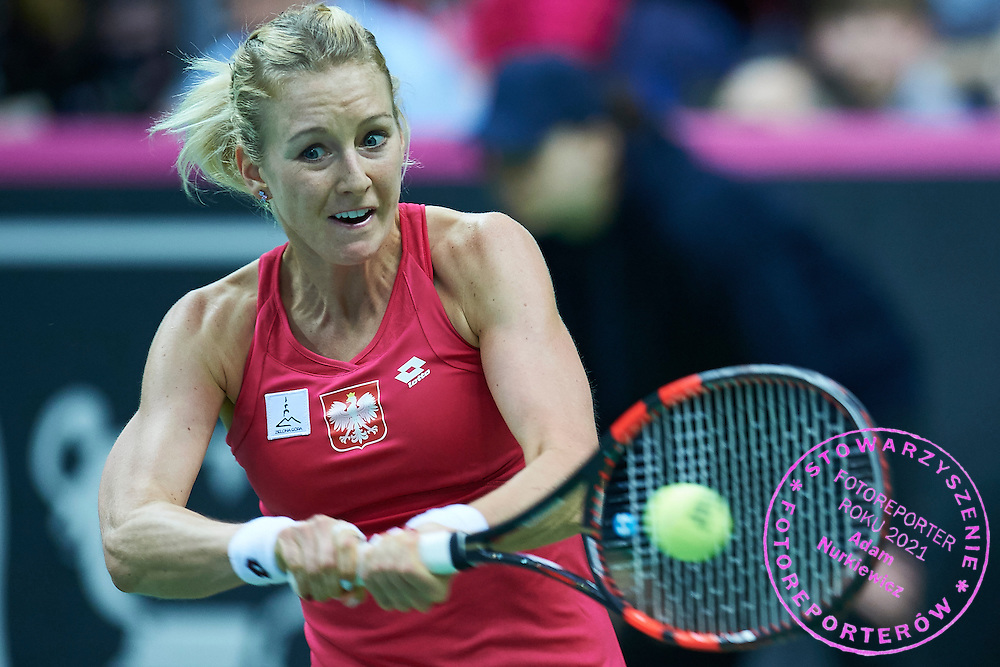 Urszula Radwanska of Poland competes during the Fed Cup / World Group Play Off tennis match between Poland and Switzerland on April 19, 2015 in Zielona Gora, Poland<br /> Poland, Zielona Gora, April 19, 2015<br /> <br /> Picture also available in RAW (NEF) or TIFF format on special request.<br /> <br /> For editorial use only. Any commercial or promotional use requires permission.<br /> <br /> Adam Nurkiewicz declares that he has no rights to the image of people at the photographs of his authorship.<br /> <br /> Mandatory credit:<br /> Photo by &copy; Adam Nurkiewicz / Mediasport