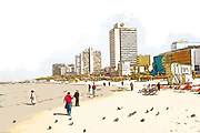 Digitally enhanced image of the Tel Aviv coastline. The Sheraton Hotel in the centre.