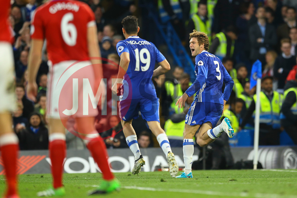 Goal, Marcos Alonso of Chelsea scores, Chelsea 2-0 Middlesbrough - Mandatory by-line: Jason Brown/JMP - 08/05/17 - FOOTBALL - Stamford Bridge - London, England - Chelsea v Middlesbrough - Premier League