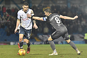 Bury Midfielder, Danny Mayor (10) and Lincoln City Midfielder, Lee Frecklington (8)  during the EFL Sky Bet League 2 match between Bury and Lincoln City at the JD Stadium, Bury, England on 26 January 2019.