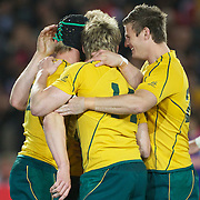 Berrick Barnes, Australia, is congratulated by team mates after scoring a try during the Australia V Wales Bronze Final match at the IRB Rugby World Cup tournament, Auckland, New Zealand. 21st October 2011. Photo Tim Clayton...