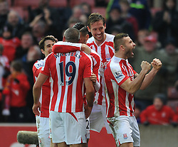 Stoke's Jonathan Walters celebrates his goal. - Photo mandatory by-line: Dougie Allward/JMP - Mobile: 07966 386802 - 06/12/2014 - SPORT - Football - Stoke - Britannia Stadium - Stoke City v Arsenal - Barclays Premie League