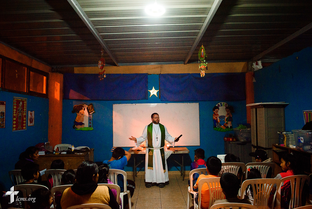 The Rev. Eddie Hosch, LCMS career missionary to Peru, leads worship at the Castillo Fuerte site in San Juan de Lurigancho on Tuesday Nov. 7 2017, in Peru.  LCMS Communications/Erik M. Lunsford