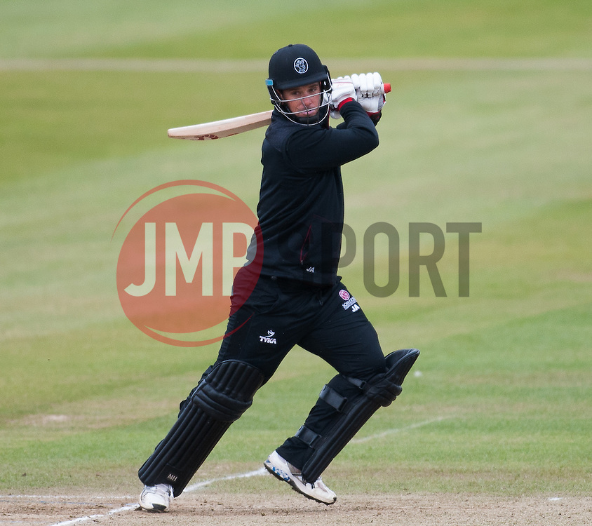 Jim Allenby of Somerset plays into the offside.   - Mandatory byline: Alex Davidson/JMP - 24/03/2016 - CRICKET - Taunton Vale CC - Taunton , England - Somerset v Gloucestershire -  Pre Season