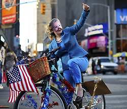 November 7, 2016 - New York City, NY, USA - New York CIty, USA. A Democrat supporter who dressed as Hilary Clinton campaigns in Times Square, New York City on Monday, 7 November, the day before the presidential election day in the United States of America. (Credit Image: © Tolga Akmen/London News Pictures via ZUMA Wire)