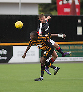 Dundee&rsquo;s Mark O&rsquo;Hara toweres over Alloa Athletic&rsquo;s Isaac Layne to win a header  - Alloa Athletic v Dundee, pre-season friendly at Recreation Park, Alloa<br /> <br />  - &copy; David Young - www.davidyoungphoto.co.uk - email: davidyoungphoto@gmail.com