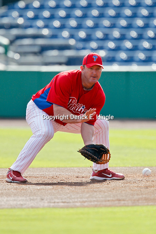 March 25, 2012; Clearwater, FL, USA; Philadelphia Phillies first baseman Jim Thome (25) before a spring training game against the Baltimore Orioles at Bright House Networks Field. Mandatory Credit: Derick E. Hingle-US PRESSWIRE