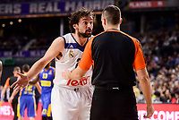 Real Madrid's Sergio Llull talking with the referee during Turkish Airlines Euroleague match between Real Madrid and Maccabi at Wizink Center in Madrid, Spain. January 13, 2017. (ALTERPHOTOS/BorjaB.Hojas)