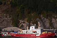 The Canadian Coast Guard ship, Pierre Radisson at port in Quebec City  in autumn. © Allen McEachern.