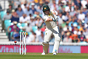 Steve Smith of Australia plays an attacking shot during the 5th International Test Match 2019 match between England and Australia at the Oval, London, United Kingdom on 13 September 2019.