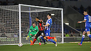 AFC Bournemouth striker Callum Wilson attacking with the ball during the Sky Bet Championship match between Brighton and Hove Albion and Bournemouth at the American Express Community Stadium, Brighton and Hove, England on 10 April 2015. Photo by Phil Duncan.
