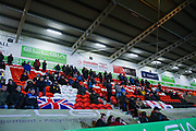 AFC Wimbledon fans during the The FA Cup match between Doncaster Rovers and AFC Wimbledon at the Keepmoat Stadium, Doncaster, England on 19 November 2019.