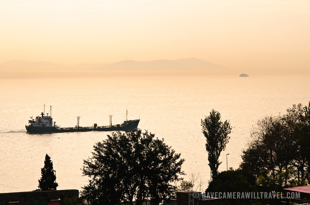 Early morning haze on the Bosphorus in Istanbul looking north from Cankurtaran district
