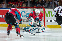 KELOWNA, CANADA - MARCH 16:  Roman Basran #30 of the Kelowna Rockets makes a save against the Vancouver Giants on March 16, 2019 at Prospera Place in Kelowna, British Columbia, Canada.  (Photo by Marissa Baecker/Shoot the Breeze)