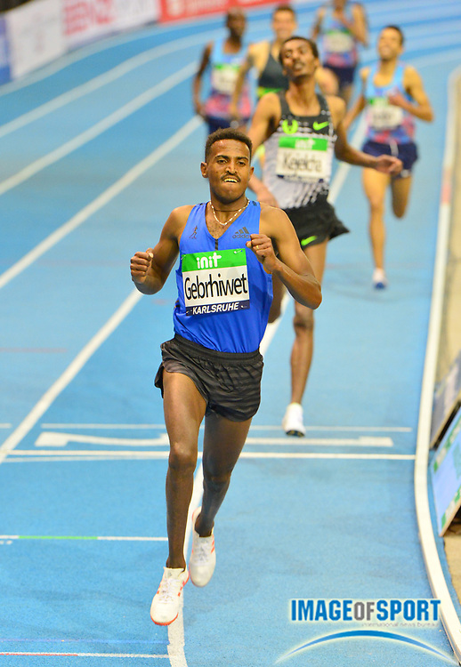 Hagos Gebrhiwet (ETH) wins the 3,000m in 7:37.91 the 34th Indoor Meeting Karlsruhen in an IAAF World Tour competition at the Messe Karlsruhe on Saturday, Feb. 3, 2018 in Karlsruhe, Germany. (Jiro Mochizuki/Image of Sport)