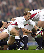Richmond/Twickenham, England, Autumn International, and All Blacks Trianing at Old Deer Park. <br /> 09/11/2002<br /> International Rugby England vs New Zealand<br /> Matt Dawson clears from behind the scrum.       [Mandatory Credit:Peter SPURRIER/Intersport Images]