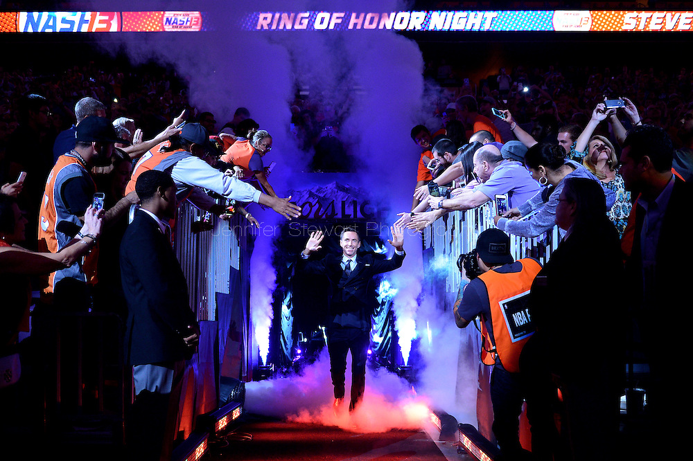 Oct 30, 2015; Phoenix, AZ, USA; Two-time NBA Most Valuable Player Steve Nash is greeted by fans prior to being inducted into the Suns Ring of Honor during half time at Talking Stick Resort Arena. Mandatory Credit: Jennifer Stewart-USA TODAY Sports