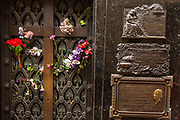 Duarte family crypt, Eva Peron's grave, The artistry of bronze and stone statues on outside of crypts has been admired since 1822, Recoleta cemetery , Buenos Aires, Argentina.