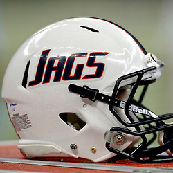 Sep 7, 2013; New Orleans, LA, USA; A detail of a South Alabama Jaguars helmet during the first quarter of a game against the Tulane Green Wave at the Mercedes-Benz Superdome. Mandatory Credit: Derick E. Hingle-USA TODAY Sports