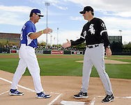 GLENDALE, AZ - FEBRUARY 28:  Manager Robin Ventura #23 of the Chicago White Sox shakes hands with manager Don Mattingly #8 of the Los Angeles Dodgers during pre game ceremonies prior to the game against the Los Angeles Dodgers on February 28, 2014 at The Ballpark at Camelback Ranch in Glendale, Arizona. (Photo by Ron Vesely)   Subject: Don Mattingly; Robin Ventura
