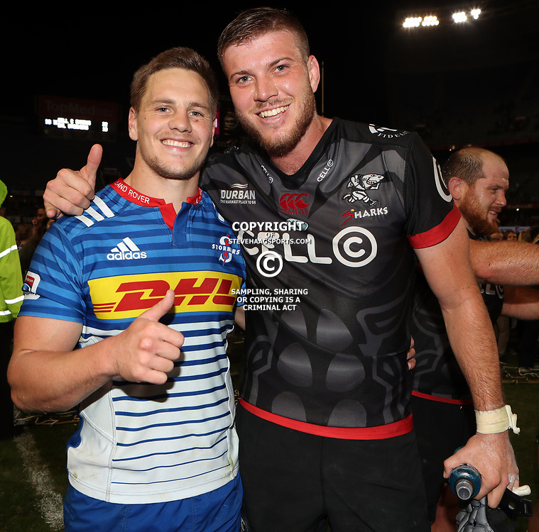 DURBAN, SOUTH AFRICA - MAY 27: SP Marais of the DHL Stormers with Stephan Lewies of the Cell C Sharks during the Super Rugby match between Cell C Sharks and DHL Stormers at Growthpoint Kings Park on May 27, 2017 in Durban, South Africa. (Photo by Steve Haag/Gallo Images)