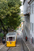 The Glória Funicular is a funicular railway (tram) line descending down the Calcada de Gloria on the 29th of October 2019, Lisbon, Portugal. Connecting the Pombaline downtown with Bairro Alto that is operated by Carris.  (photo by Andrew Aitchison / In pictures via Getty Images)