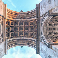 Arc de Triomphe de l'Étoile, low angle view, Paris, France.