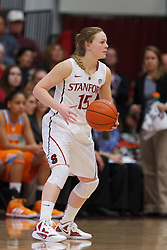 Dec 20, 2011; Stanford CA, USA;  Stanford Cardinal guard Lindy La Rocque (15) dribbles the ball against the Tennessee Lady Volunteers during the first half at Maples Pavilion.  Stanford defeated Tennessee 97-80. Mandatory Credit: Jason O. Watson-US PRESSWIRE