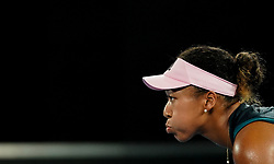 MELBOURNE, Jan. 15, 2019  Naomi Osaka of Japan looks on during the women's singles first round match against Magda Linette of Poland at the Australian Open in Melbourne, Australia, Jan. 15, 2018. (Credit Image: © Bai Xuefei/Xinhua via ZUMA Wire)