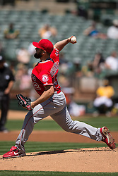 OAKLAND, CA - APRIL 13:  Matt Shoemaker #52 of the Los Angeles Angels of Anaheim pitches against the Oakland Athletics during the first inning at the Coliseum on April 13, 2016 in Oakland, California. (Photo by Jason O. Watson/Getty Images) *** Local Caption *** Matt Shoemaker
