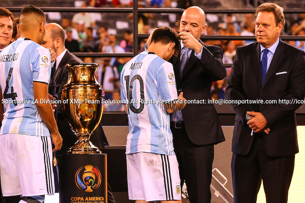 26 JUN 2016: Argentina midfielder Lionel Messi (10) receives his second place medal after losing the Copa America Centenario Final  between the Argentina and Chile played at MetLife Stadium in East Rutherford,NJ. (Photo by Rich Graessle/Icon Sportswire)